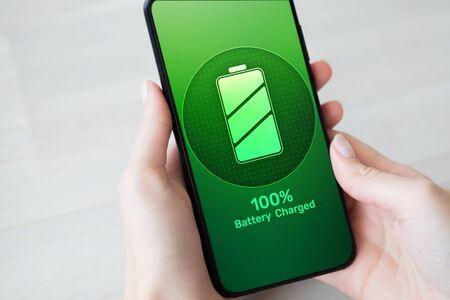 Mobile phone battery full charged indicator icon on screen.