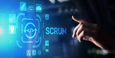 SCRUM, Agile development methodology, programming and application design technology concept on virtual screen. Stock Photo