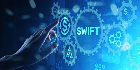 SWIFT international payment system financial technology banking and money transfer concept on virtual screen. Stok Fotoğraf