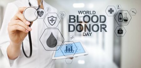 World blood donors day. Medical concept on screen.