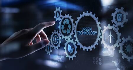 Green Technology Recycling Ecology Earth Saving concept on virtual screen. Imagens