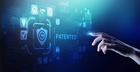 Patente patentada derecho de autor concepto de tecnología empresarial. Foto de archivo