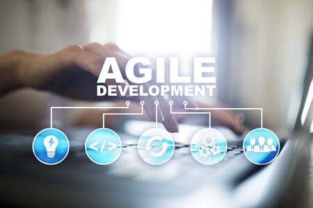 Agile development, Software and application programming concept on virtual screen.