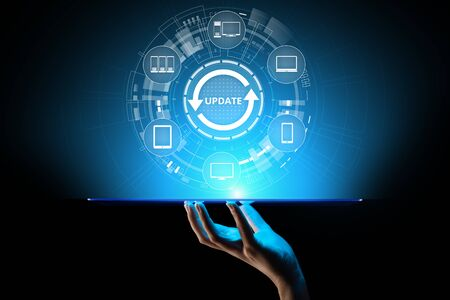 Update System Upgrade Software version technology concept on virtual screen. Banque d'images - 130053208