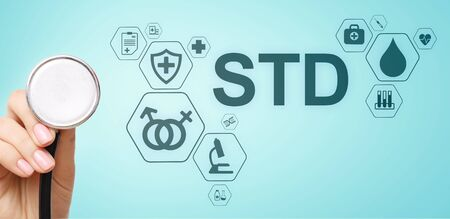 STD test sexsual transmitted diseases diagnosis medical and healthcare concept.