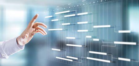 Concetto di ottimizzazione dei processi aziendali del diagramma del piano di pianificazione della gestione del progetto.