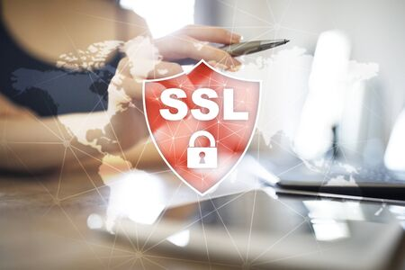 SSL Secure Sockets Layer, a computing protocol. Security of data sent via the Internet by using encryption. Banco de Imagens