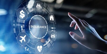 Insurance, health family car money travel Insurtech concept on virtual screen. Archivio Fotografico