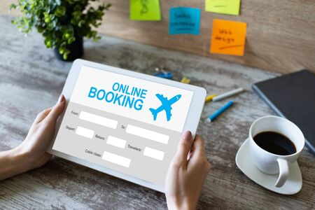 Online flight booking service form on device screen.
