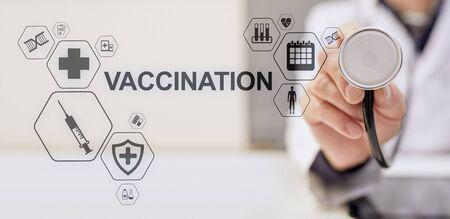 Vaccination Medical Healthcare concept of virtual screen. Reklamní fotografie - 130746067