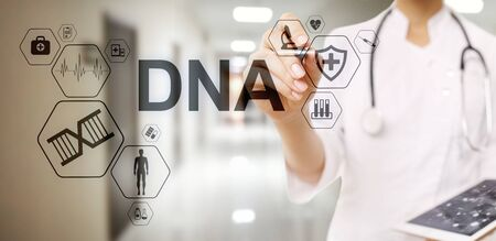 DNA deoxyribonucleic acid. Medical Healthcare Science concept on screen. Stok Fotoğraf - 130746147