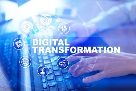 Digital transformation, Concept of digitization of business processes and modern technology.