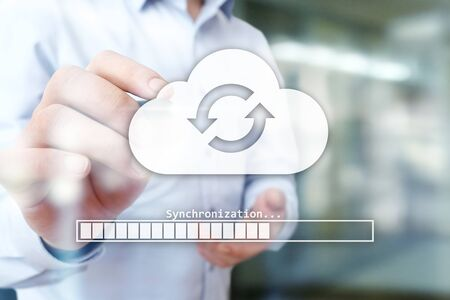Cloud synchronization, Data storage, internet and computing concept on virtual screen. Stok Fotoğraf