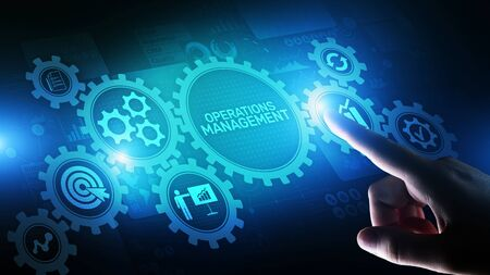 Operation management Business process control optimisation industrial technology concept.