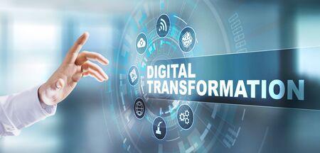 디지털 변환 디지털화 중단 혁신 기술 프로세스 자동화 인터넷 개념입니다. 가상 화면에서 버튼을 누릅니다.
