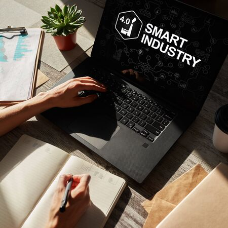 Smart industry 4.0, modern manufacturing, IOT and automation.