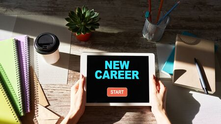 Start new career button on device screen. Recruitment and personal development concept.