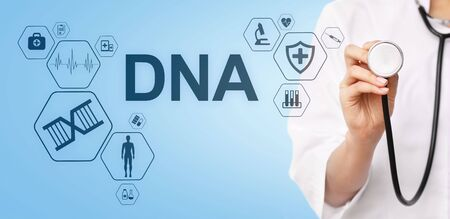 DNA deoxyribonucleic acid. Medical Healthcare Science concept on screen. Banque d'images - 132304383