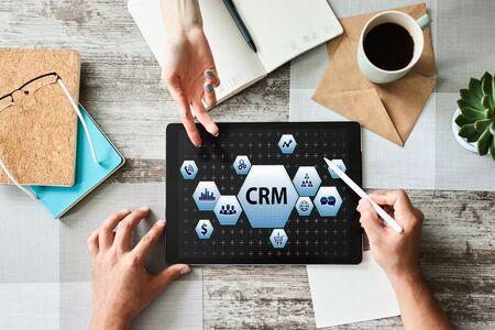 CRM - customer relationship management system concept on screen. Banque d'images - 132235027