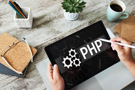 PHP programming language. Web and application development concept. Banco de Imagens