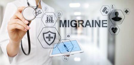 Migraine Headache head pain diseases simptome Medication Medical Healthcare concept banner. Фото со стока