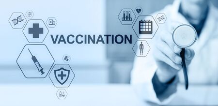Vaccination Medical Healthcare concept of virtual screen. Imagens