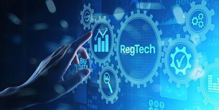 RegTech Regulation Compliance financial control modern internet technology concept on virtual screen.