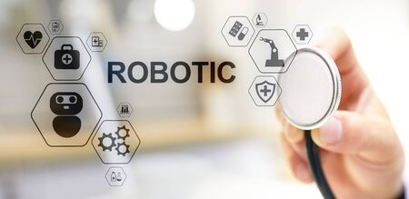 Medical robot rpa automation modern technology in medicine concept.
