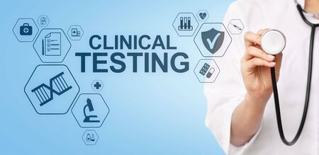 Clinical testing research, Pharmacy and Medicine concept on screen.