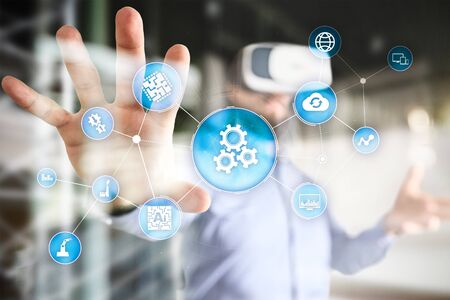 Automation solution and software for business process, Workflow, Modern technology and automatization in manufacturing. Smart industry.