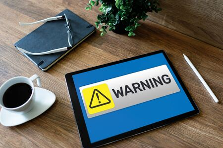 Warning message sign on screen. Virus detection security breathe hardware or software trouble. Internet cyber security concept. Stock fotó