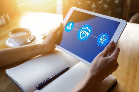 VPN - Virtual perivate network. Internet conncetion privacy concept.