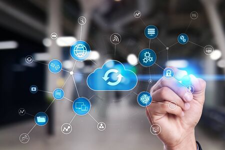 Cloud technology concept on virtual screen. Data storage and computing. Stock fotó