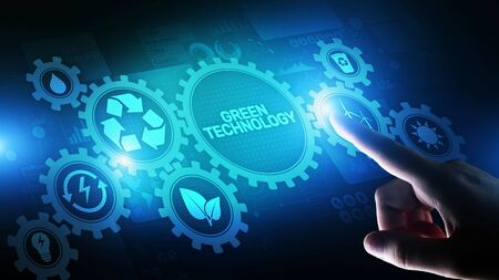 Green Technology Recycling Ecology Earth Saving concept on virtual screen. Banque d'images