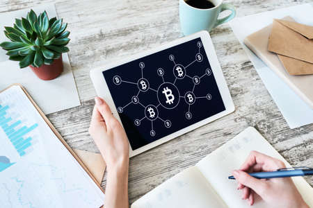 Bitcoin growth rocket icon on screen. Cryptocurrency and blockchain concept.