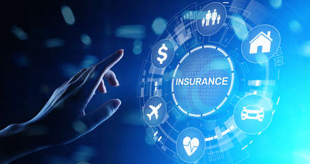 Insurance, health family car money travel Insurtech concept on virtual screen. Stockfoto