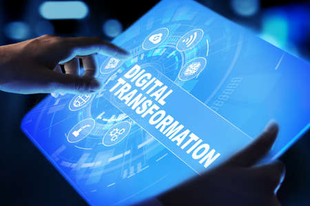 Digital transformation, disruption, innovation. Business and modern technology concept. Imagens