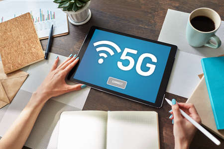 5g Fast mobile internet connection, Ne generation communication and modern technology concept.