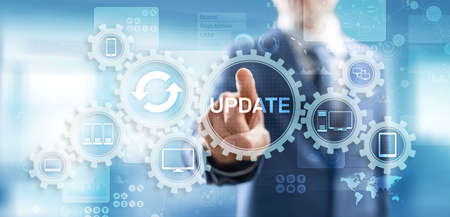 Update System Upgrade Software version technology concept on virtual screen.