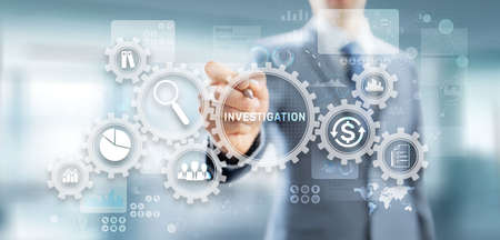 Investigation inspection audit business concept on virtual screen.