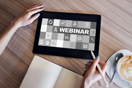 Webinar, E-learning, online education concept on screen.
