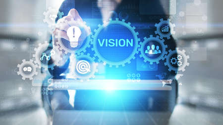 Vision, Business intelligence and strategy concept on virtual screen.