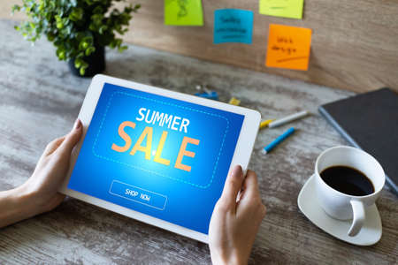 Summer sale, low price offer on device screen. E-commerce and marketing concept.