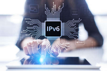 Ipv6 network protocol standard internet communication concept on virtual screen. 写真素材