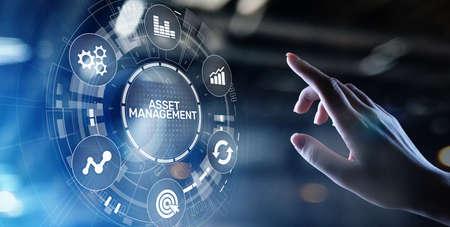 Asset management concept on virtual screen. Business Technology concept.