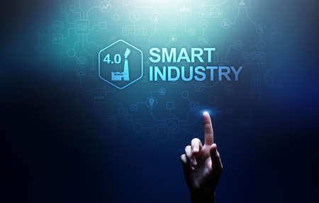 Smart industry 4.0, automation and optimization concept on virtual. Business and modern technology concept.