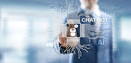 Chatbot computer program designed for conversation with human users over the Internet. Support and customer service automation technology concept. Imagens