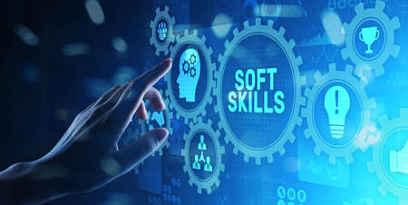 Soft skills and personal fitness responsibility HR human resources concept. Imagens