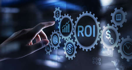ROI Return on investment reading revenue business concept on virtual screen