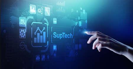 Suptech Regtech Supervisory Regulation technology concept on virtual screen